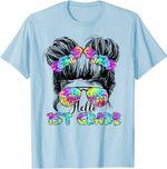 Back to school 2021 - Messy Bun Hair Tie Dye Rainbow Hello First Grade Adult, Youth Shirt