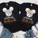 Halloween T-Shirts Matching Vacation Apparel Shirts for Family Men Women Boys Girls Baby Spiderweb Mickey Minnie Ears Orange Black