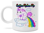 Coffee Makes Me Poop Funny Unicorn Pooping Rainbows Coffee Mug