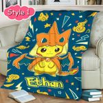 Personalized Pokemon Blanket With Name, Pikachu Blanket Birthday Gifts