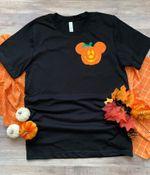 Mickey Pumpkin inspired Halloween tshirt, fabric appliqué- Family Disney Halloween shirt