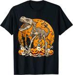 Dinosaur T rex Skeleton Pumpkin With Moon Halloween Costume T-Shirt