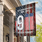 20th Anniversary 9-11 Never Forget House Garden Flag, World Trade Center Proud American Remembrance Day Flag