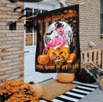 Halloween Flag American Witch Flamingo, Happy Halloween Flag
