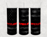 Matte black American flag distressed thin red line tapered and straight 20 oz skinny tumbler