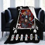 Horror Blanket Horror Movie Characters Icon Halloween Throw Throw Blankets for Couch Sofa Bed Warm Flannel Throws for Boy Girl Kids Gifts