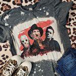 .Jason Freddy Bleached Tee - Halloween Jason Shirt - Halloween Shirt