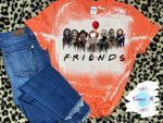 ..Friends Horror Movie Characters Distressed Shirt   Halloween Spooky Bleached Shirt