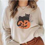 Black Cat on Pumpkin Sweatshirt, Halloween Black Cat, Gifts for Cat Owner