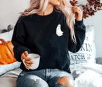Pocket Ghost Sweatshirt, Funny Halloween Sweater, Ghost Pocket Sweatshirt