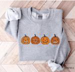 Pumpkin Sweatshirt, Pumpkin Sweater, Jack-o-Lantern Sweatshirt, Halloween Crewneck