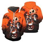 Jack Skellington Halloween Horror Movie Friends All Over Print 3D Hoodie