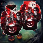Horror Halloween 3D Hoodie, Horror Movie Characters Unisex Hoodie, Horror Movie Hoodie