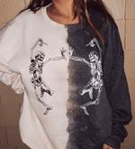 Dancing Skeletons Bleached Crewneck Sweatshirt, Happy Halloween