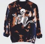 Tie Dye Trick Or Treat Skeleton Sweatshirt, Happy Halloween