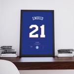 Joel Embiid, Philadelphia Sixers, 76ers, Ben Simmons, Nba Jersey, Basketball Illustration Print poster