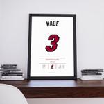 Dwyane Wade Jersey, Miami Heat, Lebron James, Chris Bosh, Nba Jersey, Basketball Illustration Poster