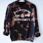 Tie Dye Halloween Town University Bleached Sweatshirt, Happy Halloween