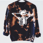 Tie Dye Nervous Custom Skeleton Bleached Sweatshirt, Happy Halloween