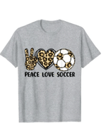 Leopard Peace Love Soccer Shirts Women Teen Girls Toddler T-Shirt