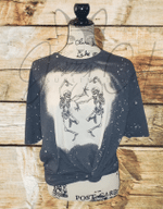Dancing Skeletons Bleached Shirt, Halloween Shirt