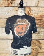 Halloween Bleached T Shirt/Halloween Lips Bleached T Shirt