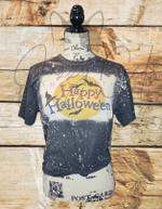 Halloween Bleached T Shirt/Happy Halloween Bleached T Shirt