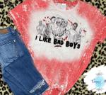 I Like Bad Boys Horror Movie Characters Distressed Bleached Shirt | Halloween Spooky