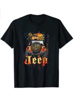 My Broom Broke So Now I Drive A J.e.e.p Pumpkin America Flag T-Shirt