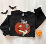 Cat Halloween Sweatshirt, Halloween Crewnecks, Pumpkin Halloween Shirt