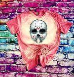Camp Crystal Lake Jason Voorhees Mask Bleached Shirt