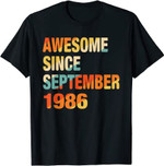 35th Birthday Gift 35 Years Old Awesome Since September 1986 T-Shirt