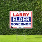 Larry Elder California Governor Red White & Blue Yard Sign with Metal H Stake