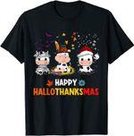 Happy HalloThanksMas Santa Cow Halloween Thanksgiving T-Shirt