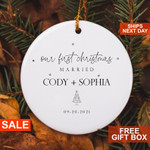 Personalized Ornament, First Christmas Married Ornament , Married Christmas Ornament , Our First Christmas Married as Mr and Mrs Ornament