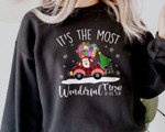 It Is The Most Wonderful Time Of The Year Sweatshirt, Cute Santa Clause Sweater, Vintage Red Christmas Truck Sweatshirt