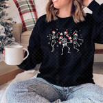 Dancing Skele.ton Crewneck Sweatshirt, Cute Skele.ton Christmas, Dancing Skelet.on Christmas, Spooky Sweatshirt