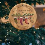 Personalized Family Christmas Ornament, First Christmas As A Family of Four Ornament