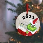 2021 christmas ornament The Grinch funny covid 19 pandemic vaccination holiday ornament The grinch carrying bag of vaccines