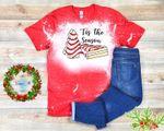 Tis The Season Debbie Snack Distressed Bleached Shirt | Funny Christmas Bleached Shirt| Christmas Tree Cake