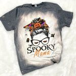 Spooky Mama Shirt, Halloween Shirt, Spooky Shirt, Scary Halloween Bleached Shirt