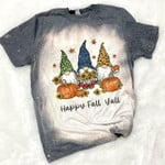 Happy Fall Y'all Gnome Leopard Pumpkin Autumn Gnomes Bleached Shirt