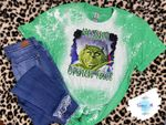 Resting Grinch Face Distressed Bleached Shirt | Christmas The Grinch Bleached Shirt| | Funny Christmas Shirt