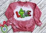 Love Grinch Movie Bleached Sweatshirt| The Grinch That Stole Christmas | The Grinch Plaid