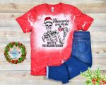 When You're Dead Inside But It's The Holiday Season Bleached Shirt | Christmas Skeleton Festive Bleached Shirt|
