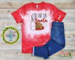 I Put Out For Santa Claus Distressed Bleached Shirt   Christmas Bleached Shirt  Cookies and Milk Funny Santa Shirt