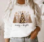 Leopard print Christmas Sweatshirt, Merry and Bright Sweatshirt