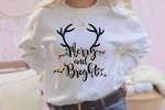 Merry and Bright Sweatshirt, Womens Christmas Sweater, Cute Holiday Sweatshirts