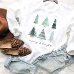 Merry And Bright Sweatshirt, Christmas Tree Sweatshirt, Christmas Sweater, Christmas Crewneck