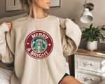 Merry & Bright Starbucks Sweater, Aesthetic Fall Sweatshirts for Women, Coffee Lover Gift for Best Friend